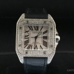 Cartier SANTOS MEDIUM SIZE STEEL FULL DIAMODS