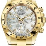 Rolex 116528 White MOP Diamond  Cosmograph Daytona Yello