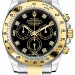 Rolex 116523 Black Diamond  Cosmograph Daytona Stainless