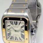 Cartier Santos 100 Large 18k Gold  Steel Bracelet Mens Wat