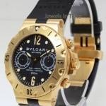 Bulgari Bvlgari Scuba 18k Gold  Rubber Chronograph Mens Di