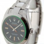 Rolex Mens Milgauss Green Crystal Steel Box  Papers NEW