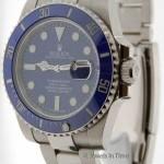 Rolex Submariner Mens 18K White Gold Blue Ceramic Mens W