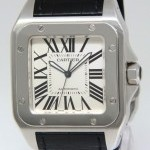 Cartier Santos 100 Stainless Steel Silver Dial Automatic M