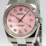 Rolex Datejust Steel MOP Pink Diamond Dial 18k White Gol