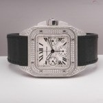 Cartier Santos 100 chronograph diamonds